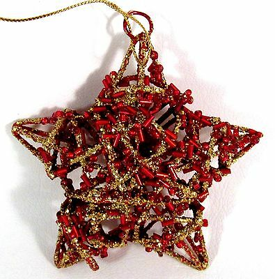 Christmas Ornament Star Red and Gold Glitter 4 Inches
