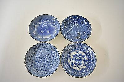 Asian Porcelain Small Dishes Hand Painted With Artist's Marking (Set of 4)