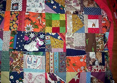 Handmade Coverlet Crazy Quilt Design Red Border And Lining Multi-Prints
