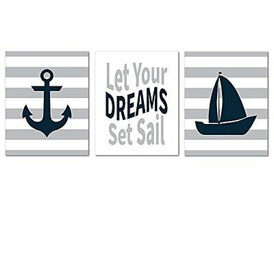 Nautical Nursery Prints for Baby Room Decorations - NO FRAMES OR MATTING