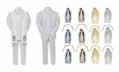 New Born Baby Boy Christan Baptism White Suit Maria Mary Guadalupe On Stole Sm-7
