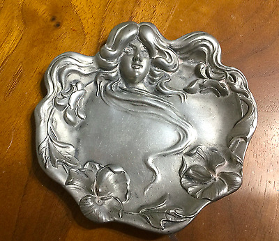 Stunning Antique French Art Nouveau Dish Mucha Style Goddess Jewelry Tray