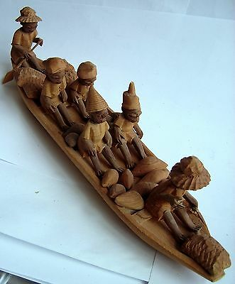 Antique or Vintage Hand Carved Wooden Figure of six men in a boat. Large 10 3/4""