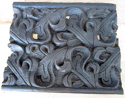 Antique Carved Wood Plaque Architectural Salvage Panel Arts & Crafts scroll Leaf