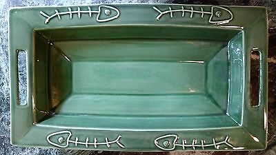 Portuguese Pottery Fish Platter Large Heavy Deep Handled Green  MADE in PORTUGAL