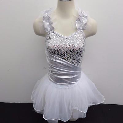Dance Costume Small & Medium Adult White Silver Angel Jazz Tap Solo Competition