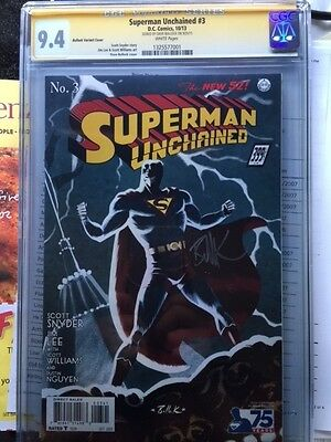 Superman Unchained #3 Variant Cover CGC 9.4 SS Bullock 1st Print White Pages