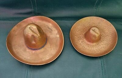Vintage Pair Of 40's Solid Copper Cowboy Hat Ashtray Trinket Dish Hand Made Art