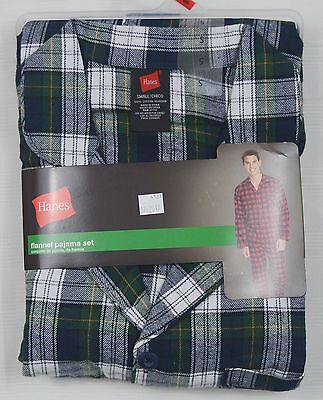 Hanes #4137 NEW Men's Plaid 100% Cotton Flannel Pajama Set