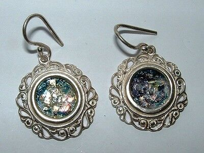 ancient roman glass fragment   set in 925 silver earrings