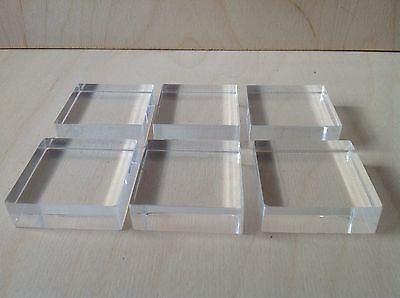 Acrylic Stamping Blocks 35mm X 35mm 15mm Thick, Made In The Uk,in Stock,