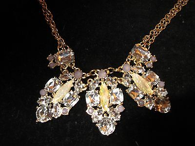 NWT Statement Necklace Gold Tone Rhinestone Crystal Jeweled Layered Chain Boho