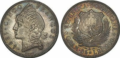 Dominican Republic Silver 1891-A 5 Francos NGC MS63 Toned RARE Make me an offer!