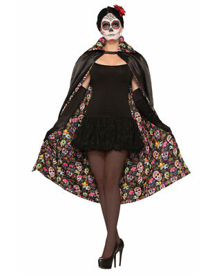 Black Day Of The Dead Skeleton Skull Magician Cape Costume Accessory