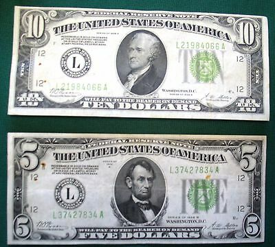 Federal Reserve Note's $5 & $10 1928-B Redeemable in GOLD demand Notes Av. Circ.
