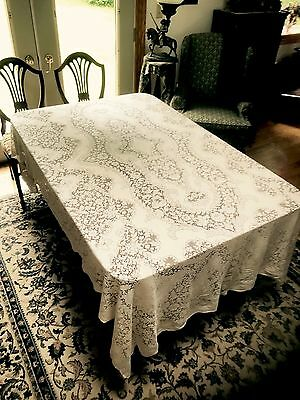Antique Vintage Ornate Quaker Lace Banquet Tablecloth Heavy Dense Cotton
