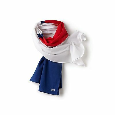 Lacoste Mens Men's Color Block Cotton Voile Scarf - White/waterfall Blue-Cher...