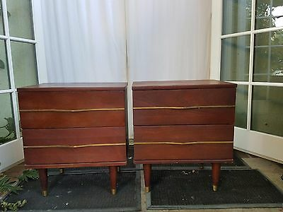 Link Taylor Mid-Century Mahogany Nightstands - a pair