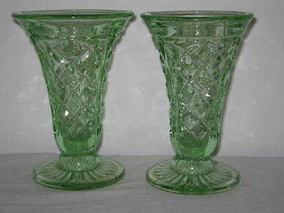 Art Deco Circa 1930's Depression Green Glass a Pair of Vases 14cm High 8cm Foot