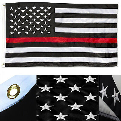 3x5 Thin Red Line Fire Fighter Department Embroidered PREMIUM 2 Sided Flag