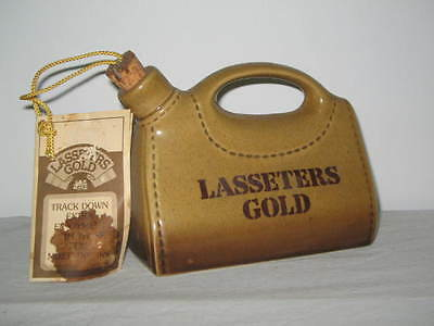 Lasseters Gold Ceramic Water Bag with Cork Mixed Drinks Recipes Attached Aussie