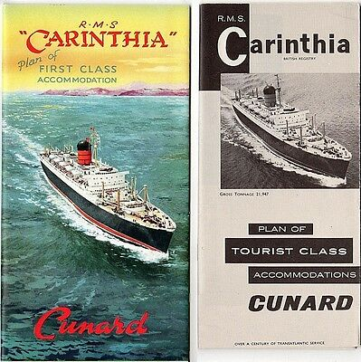 RMS CARINTHIA Cunard:Two Photo-Illustrated Deck Plans/ 1st+Tourist/ Color Photos