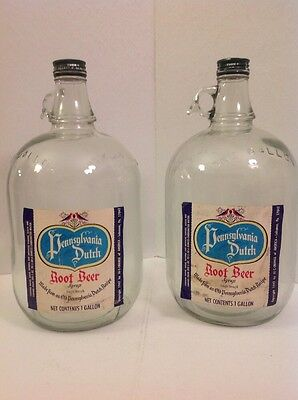 Lot Of 2 Pennsylvania Dutch Root Beer Syrup One (1) Gallon Glass Jug 1947