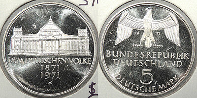 GERMANY: Federal Republic 1971-G 5 Mark The German People #WC73027