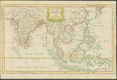 "1770 Original Antique Map ""EAST INDIES"" by T KITCHIN Hand coloured INDIA CHINA"