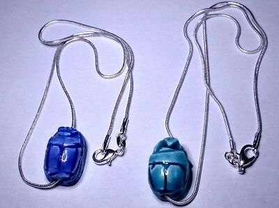 """Lot of 2 Sterling Silver 925 Snake Chain 16"""" Beetle Scarabs natural carved Stone"""