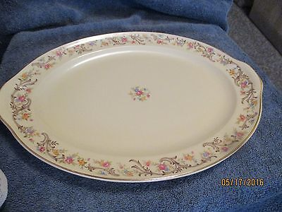 """Taylor Smith Taylor Vintage Platter 15 """" Brown Scroll Lugged Handles Quite Nice"""