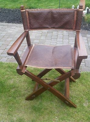 Vintage Pottery Barn Director Campaign Chair Rattan Folding Eames Style Retro