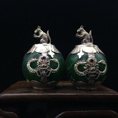 A pair of jade collection, Tibet silver hand carved statues of rat  4.17dx08.