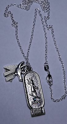 "Sterling Silver 925 Chain 26"" King Tutankhamen & Anubis Proctor of Tombs"