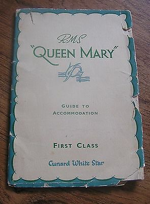 """1930'S RMS QUEEN MARY GUIDE TO ACCOMMODATION 35 PG 1ST CLASS CUNARD LINE 5"""" x 7"""""""
