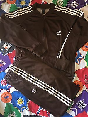 Vintage Adidas Tracksuit Sweatsuit Firebird Brown Chocolate