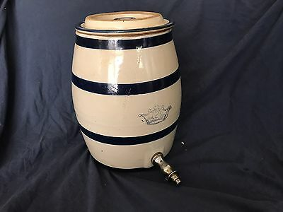 2 Gallon Robinson Ransbottom Crown Vintage Stoneware Water Cooler w/Spigot & Lid