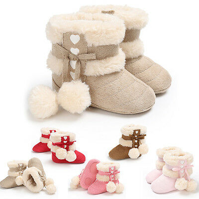 Toddler Girl Boots Shoes Newborn Baby Winter Warm Soft Sole Prewalker Sneakers