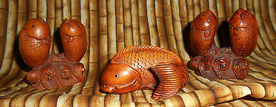 Carved Wood Netsuke Fish - set of 3 - signed