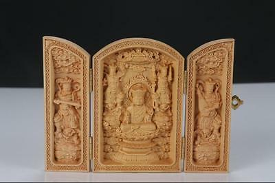 Boxwood Highly Difficulty Carved Ksitigarbha Bodhisattva Statue Folding Box