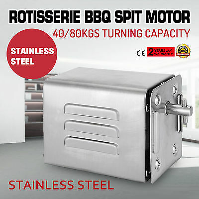 Stainless steel rotisserie bbq spit 240v motor 40 80kgs for Bbq spit motors electric