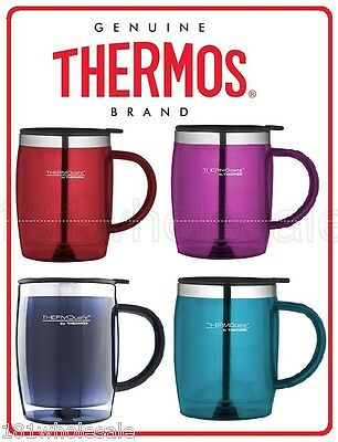 Thermos Travel Desk Mug 450ml Stainless Steel Insulated Interior TEAL PINK BLUE
