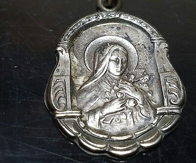 Vintage sterling silver St.Theresa pray for us religious charm/pendant