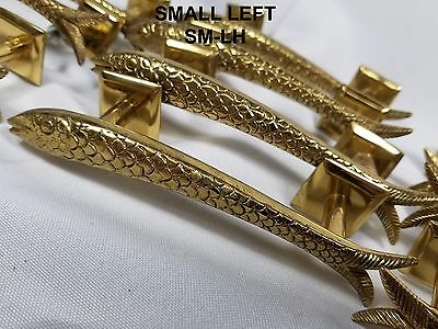SM-LH VINTAGE Brass FISH Drawer Pull Handle Knob Cabinet Door Fishing Fisherman