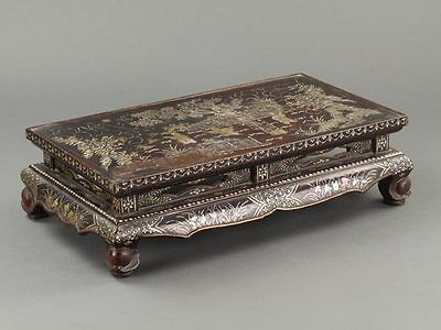 Japanese Lacquerware Rectangular Low Table w/ Mother of Pearl Inlay Work: BD789