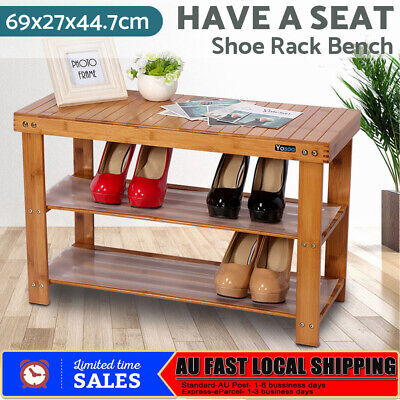 New 2 Tiers Bamboo Shoe Rack Cabinet Storage Organiser Stand Shoes Bench Shelves