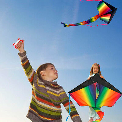 Huge Rainbow Kite Kids Children Outdoor Games Activities Summer Fun Toy UK Stock