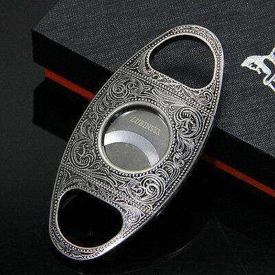 LUBINSKI High-end Flower Carving Antique Silver Ripple Style Cigar Cutter