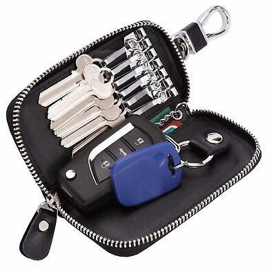 Key Car Holder Leather Case Bag Wallet Chain Keychain Pouch for Men Zip 6 Hook