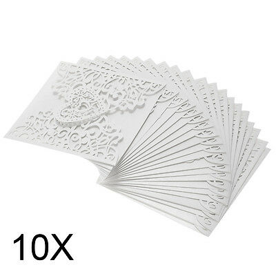 10Pcs/Pack Delicate Hollowed Heart Pattern Invitation Card For Wedding Party